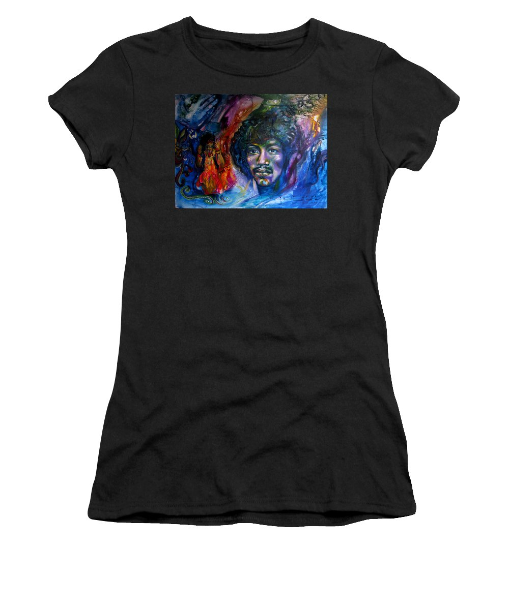Music Women's T-Shirt featuring the painting Jimi Hendrix by Sofanya White