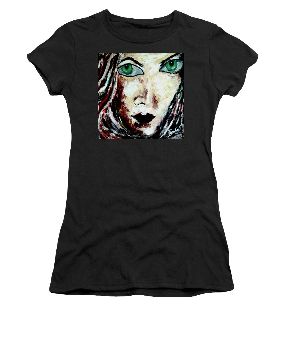 Oil Painting Women's T-Shirt featuring the painting Her by Fareeha Khawaja