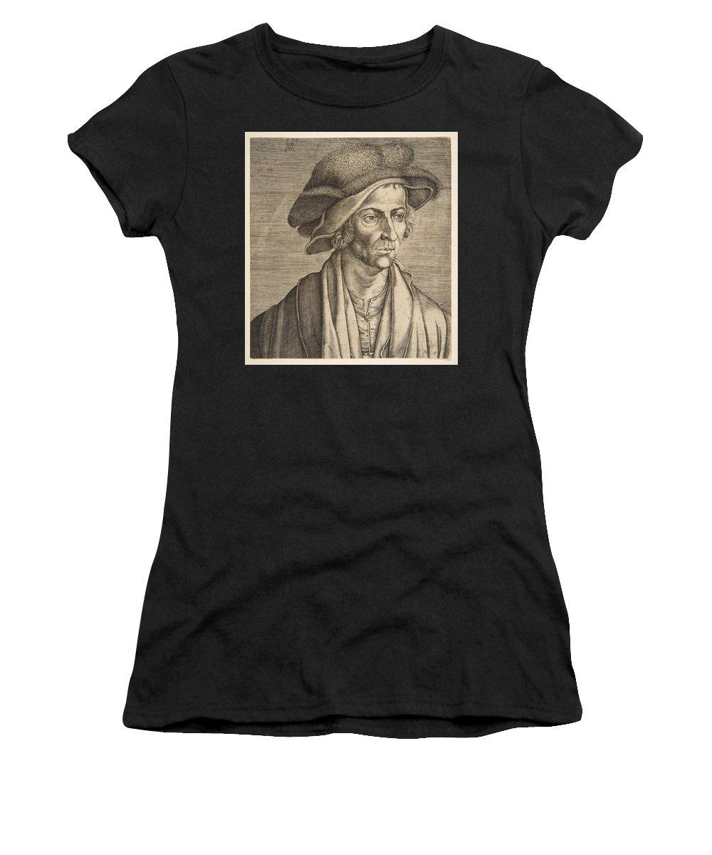 Aegidius Sadeler Women's T-Shirt featuring the drawing Joachim Patinir by Aegidius Sadeler