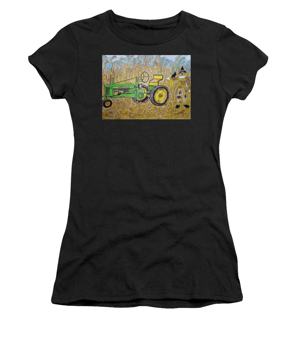 John Deere Women's T-Shirt featuring the painting John Deere Tractor And The Scarecrow by Kathy Marrs Chandler