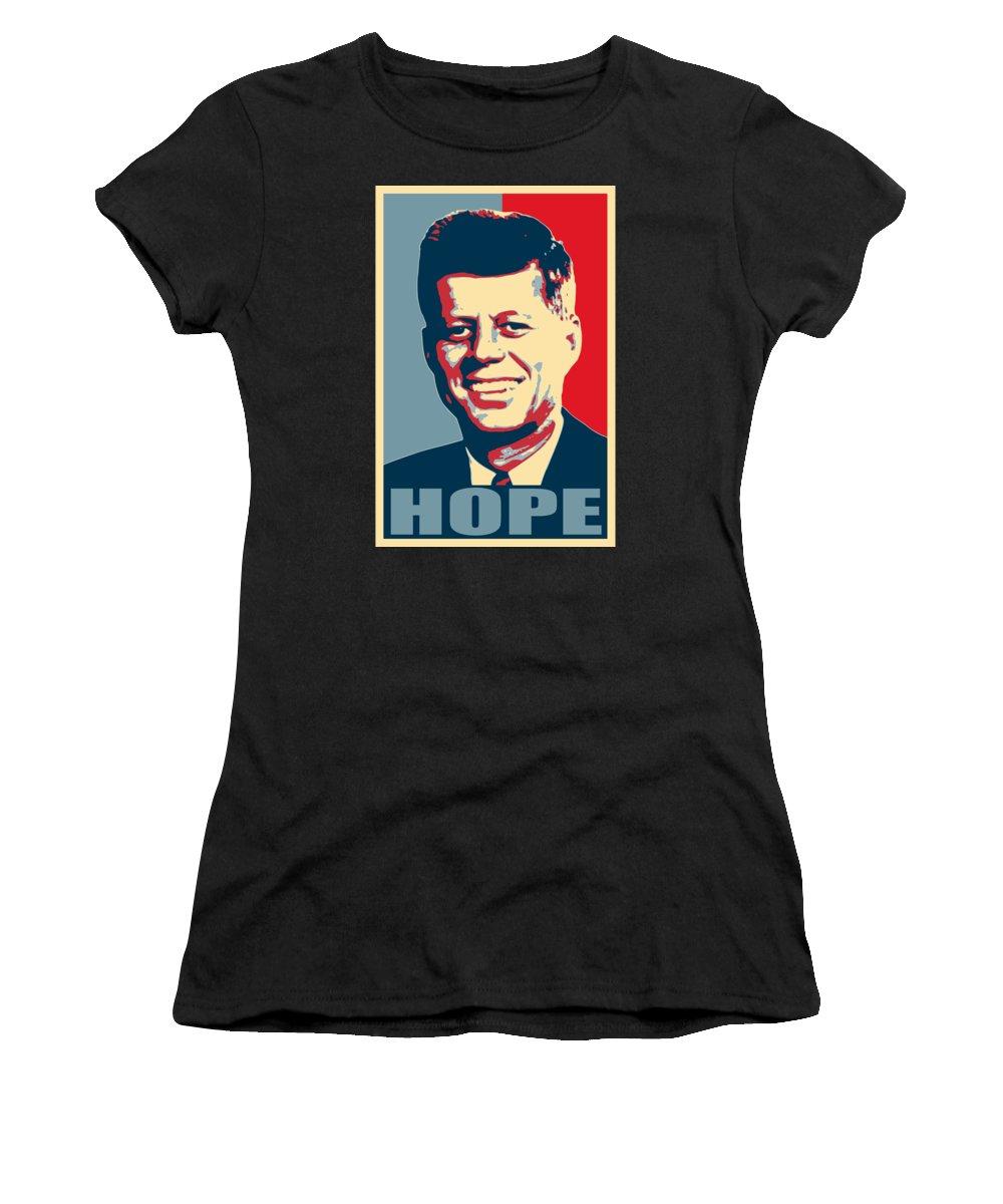 Jfk Women's T-Shirt featuring the digital art John F Kennedy Hope Poster Art by Filip Schpindel