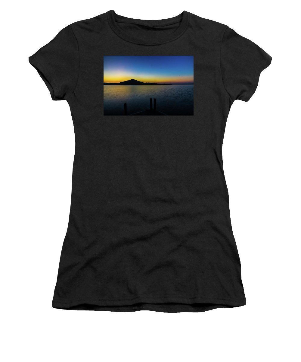 Join Me On The Dock Women's T-Shirt featuring the photograph Join Me On The Dock by Bob Marquis
