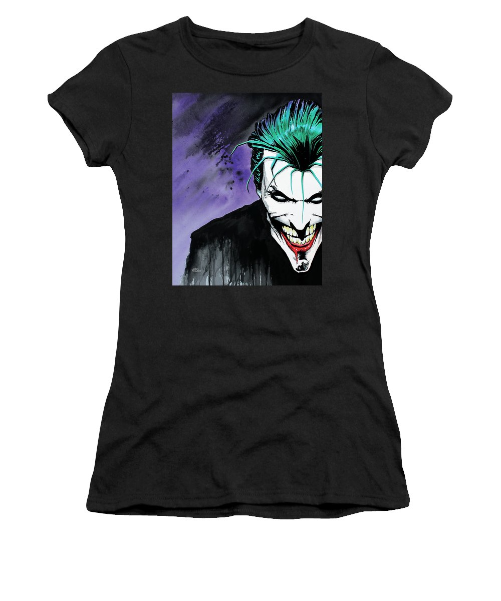 Joker Women's T-Shirt (Athletic Fit) featuring the painting Joker by Marc Brawner