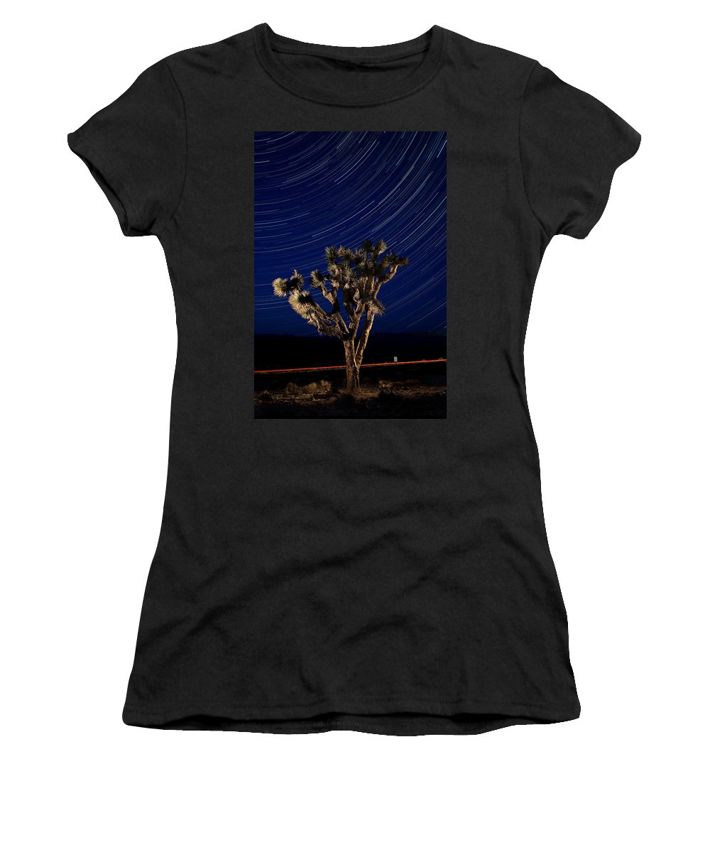 Death Women's T-Shirt (Athletic Fit) featuring the photograph Joshua Tree And Star Trails by Steve Gadomski