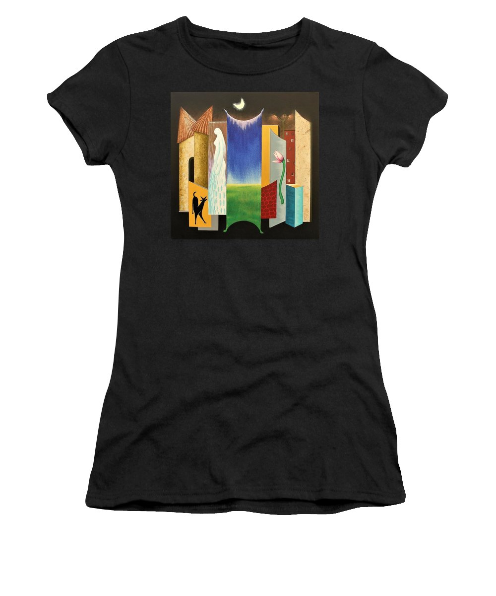 Romantic Women's T-Shirt (Athletic Fit) featuring the painting Journy -13 by Raju Bose