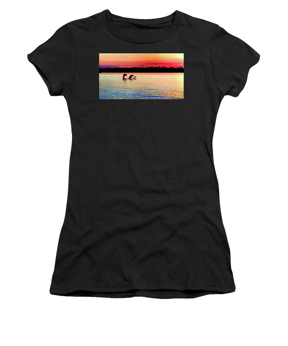 Dolphins Women's T-Shirt (Athletic Fit) featuring the photograph Joy Of The Dance by Karen Wiles