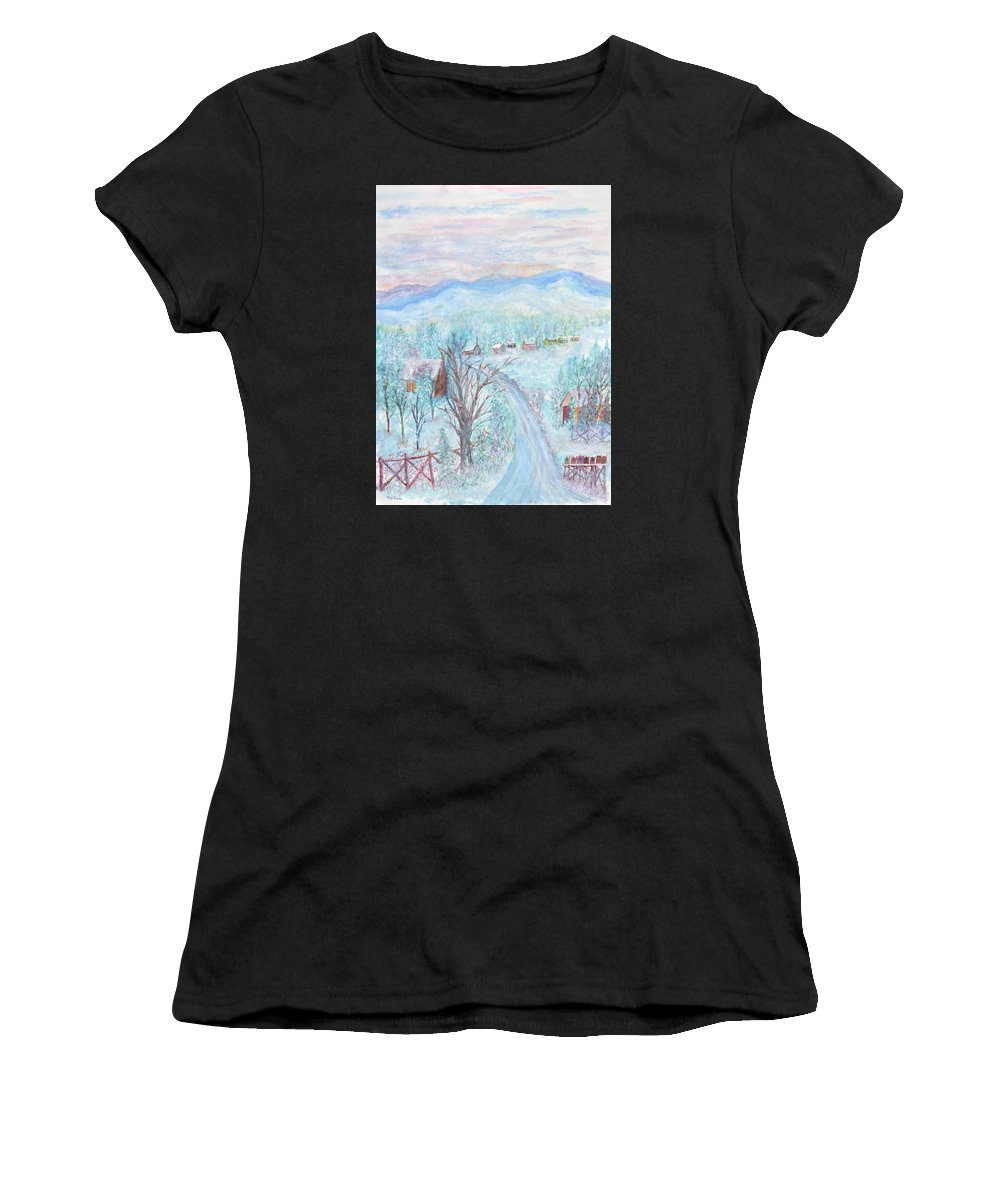 Winter Women's T-Shirt featuring the painting Joy of Winter by Ben Kiger