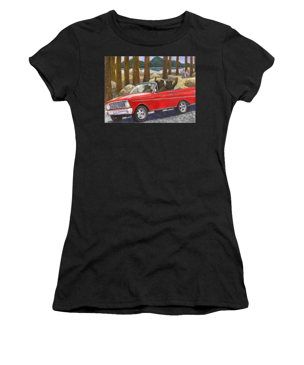 Bears Women's T-Shirt (Athletic Fit) featuring the painting Joy Ride by Catherine G McElroy