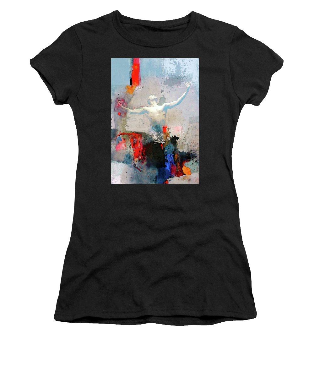 Ballet Women's T-Shirt (Athletic Fit) featuring the mixed media Joyance by Peiman Miraliakbari