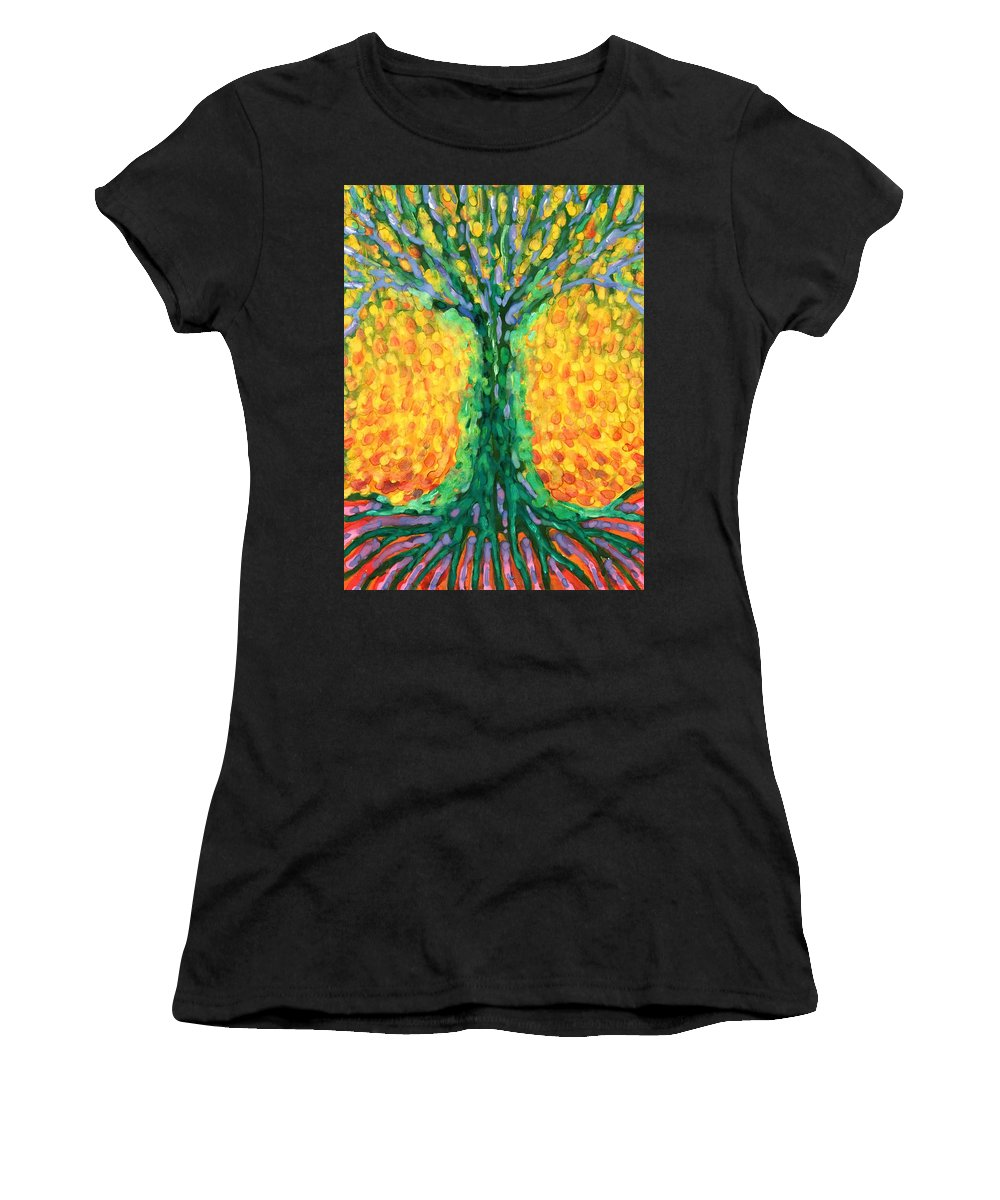 Colour Women's T-Shirt (Athletic Fit) featuring the painting Joyful Tree by Wojtek Kowalski