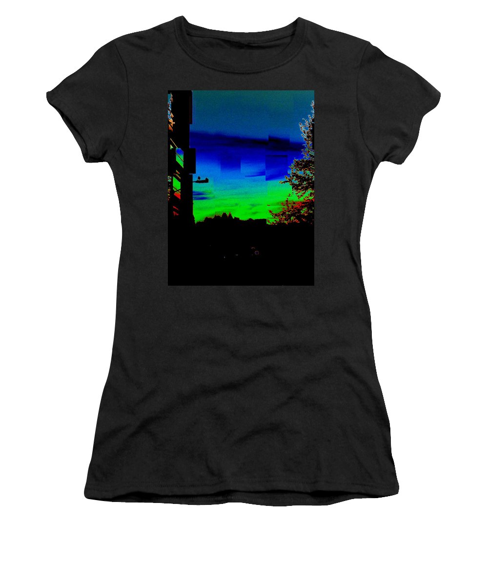 Sunset Women's T-Shirt (Athletic Fit) featuring the photograph Joyin The Sunset Together by Tim Allen