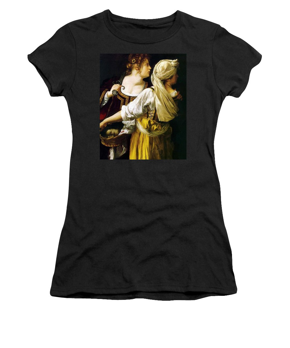 Judith Women's T-Shirt (Athletic Fit) featuring the painting Judith And Her Maidservant 1613 by Gentileschi Artemisia