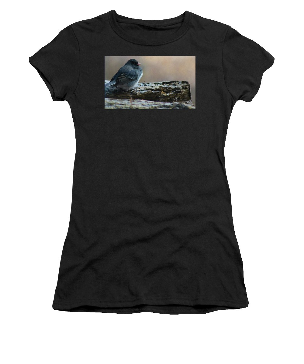 Wildlife Outdoor Images Women's T-Shirt (Athletic Fit) featuring the photograph Junco Joyous by Felipe Gomez