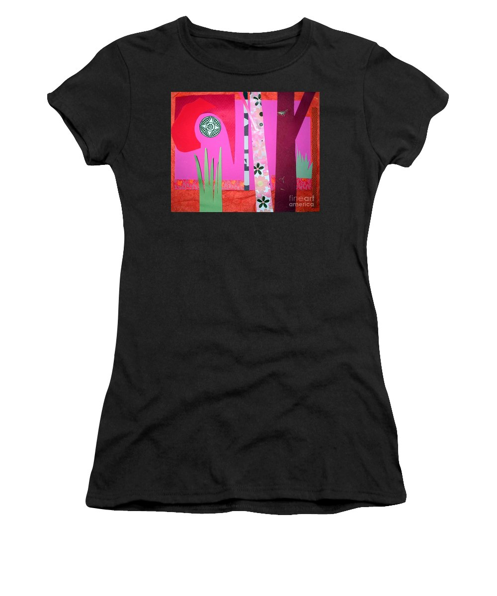 Landscape Women's T-Shirt (Athletic Fit) featuring the mixed media Jungle Temple by Debra Bretton Robinson