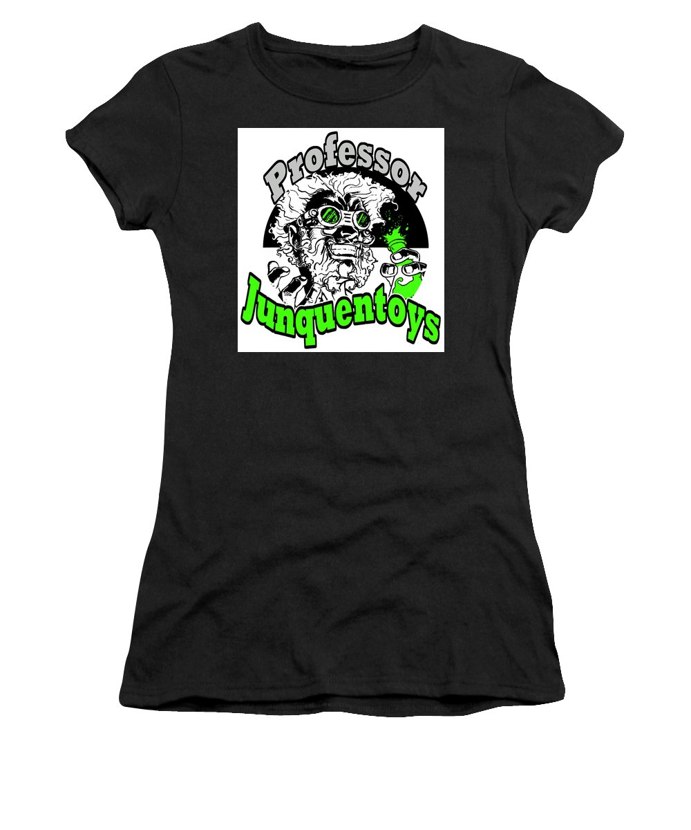 Goggles Women's T-Shirt featuring the mixed media Junquentoys Circular Logo by Damon Steele