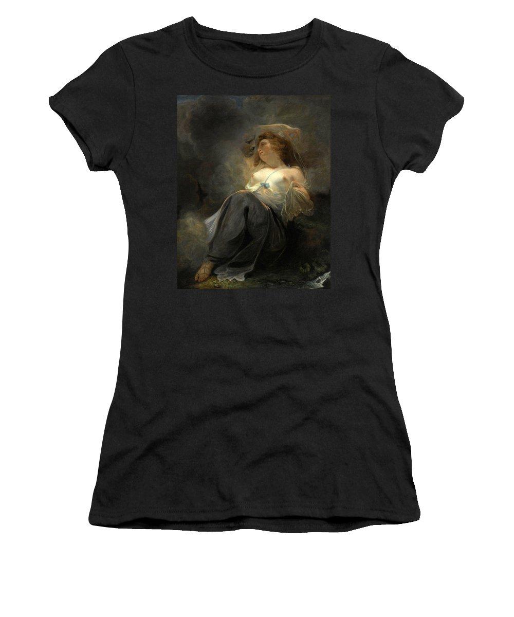 John Hoppner Women's T-Shirt (Athletic Fit) featuring the painting Jupiter And Io by John Hoppner