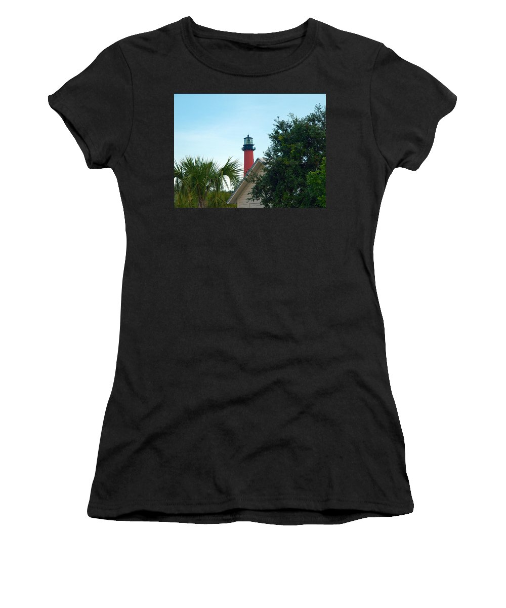 Florida; Juptier; Inlet; Loxahatchee; River; Atlantic; Coast; Shore; Beach; Light; Lighthouse; Beaco Women's T-Shirt (Athletic Fit) featuring the photograph Jupiter Light by Allan Hughes