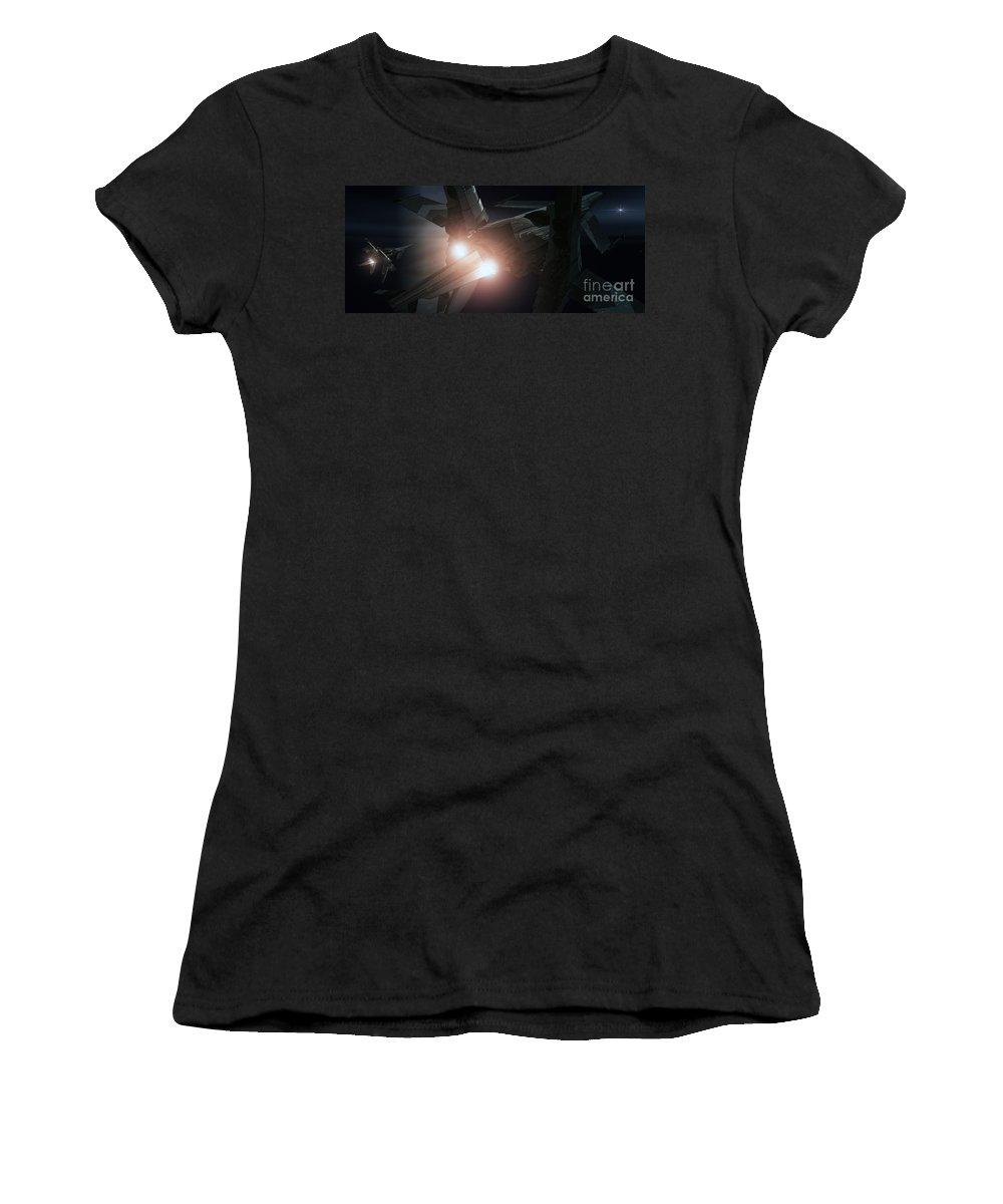Space Women's T-Shirt featuring the digital art Jupiter Patrol by Richard Rizzo