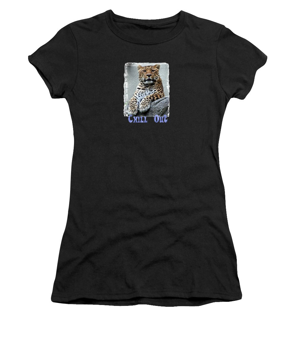 Leopard Women's T-Shirt (Athletic Fit) featuring the photograph Just Chillin' by DJ Florek