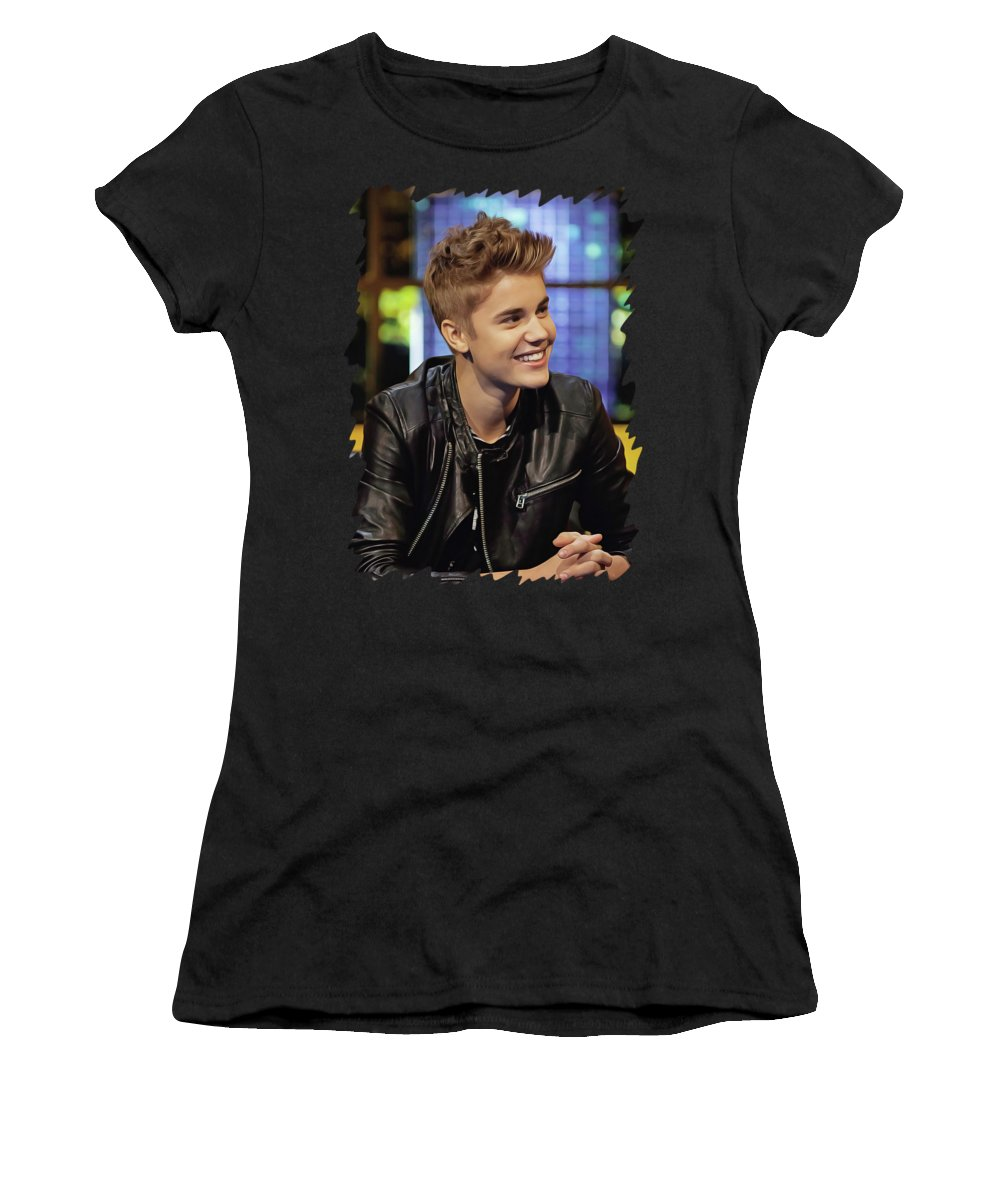 Justin Bieber Women's T-Shirt (Athletic Fit) featuring the painting Justin Bieber by Twinkle Mehta
