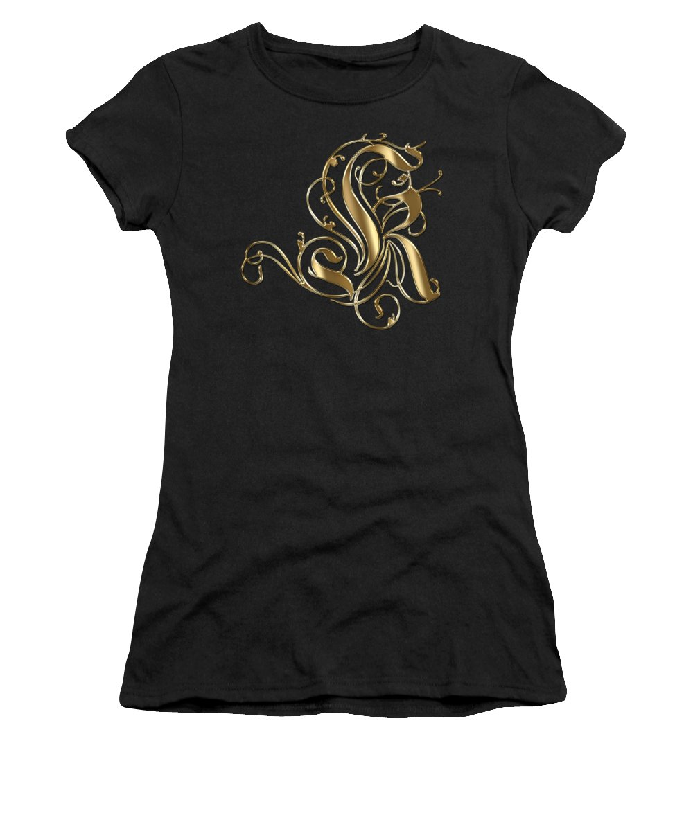 Gold Letter K Women's T-Shirt featuring the painting K Golden Ornamental Letter Typography by Georgeta Blanaru