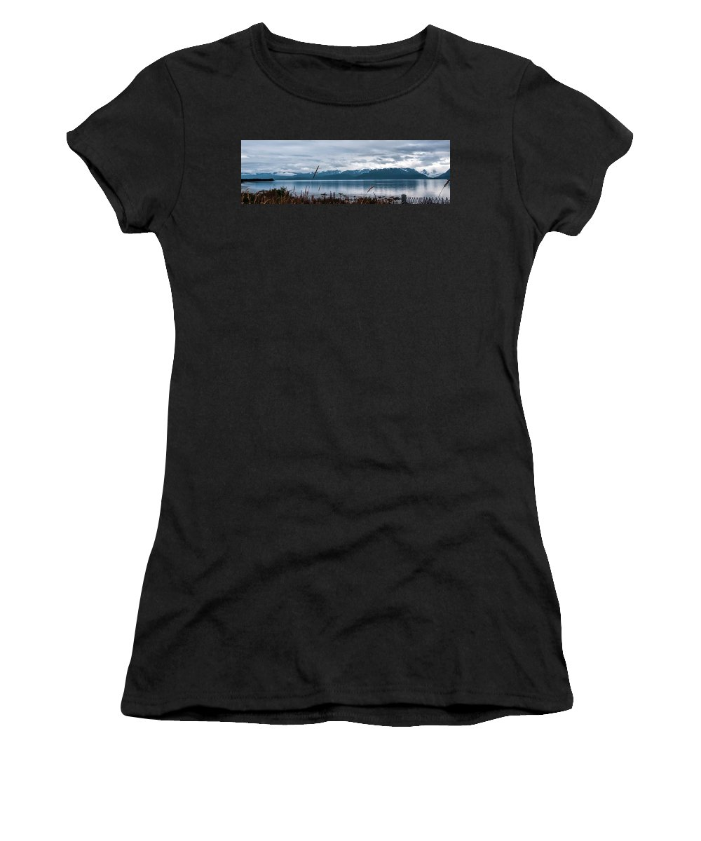 Kachemak Bay Pano Women's T-Shirt featuring the photograph Kachemak Bay Pano by Phyllis Taylor