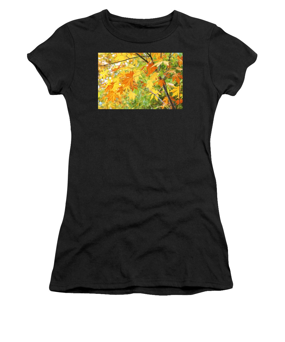Leaves Women's T-Shirt (Athletic Fit) featuring the photograph Kaleidoscope Of Color by Art Block Collections