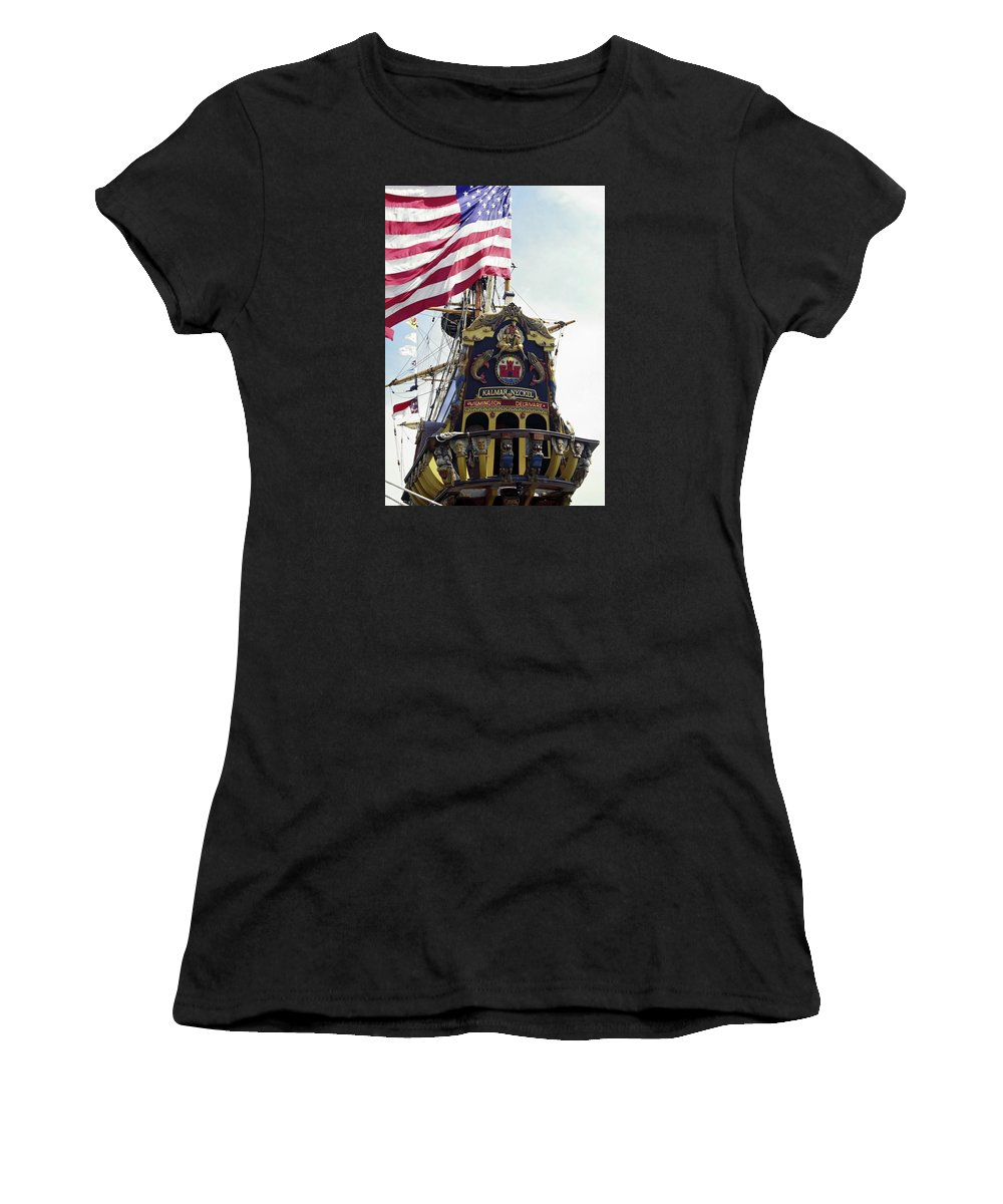 Ornate Carved Wood Stern Women's T-Shirt featuring the photograph Kalmar Nyckel Tall Ship by Sally Weigand