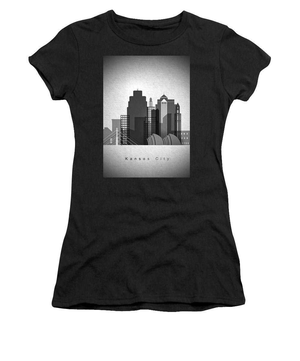 Skyline Women's T-Shirt (Athletic Fit) featuring the painting Kansas City Skyline In Black And White by Dim Dom