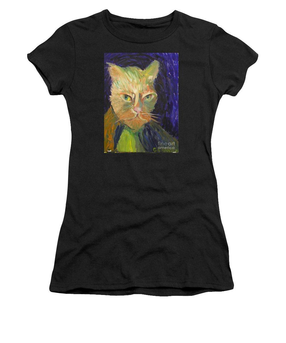 Van Gogh Women's T-Shirt (Athletic Fit) featuring the painting Kat-van-go by Gail Eisenfeld aka G Kitty Hansen