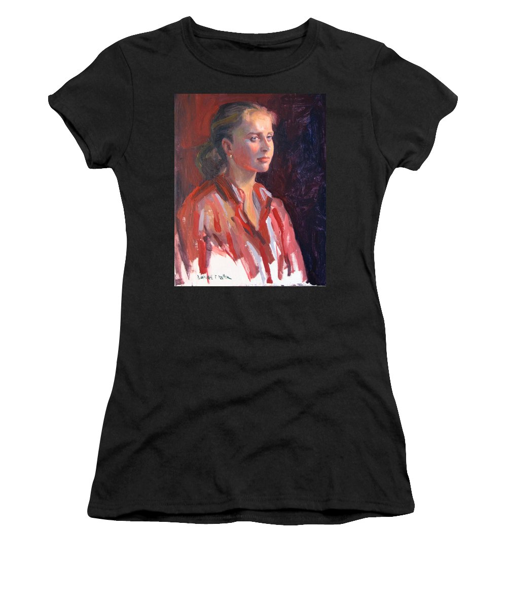 Portrait Women's T-Shirt (Athletic Fit) featuring the painting Kate by Dianne Panarelli Miller