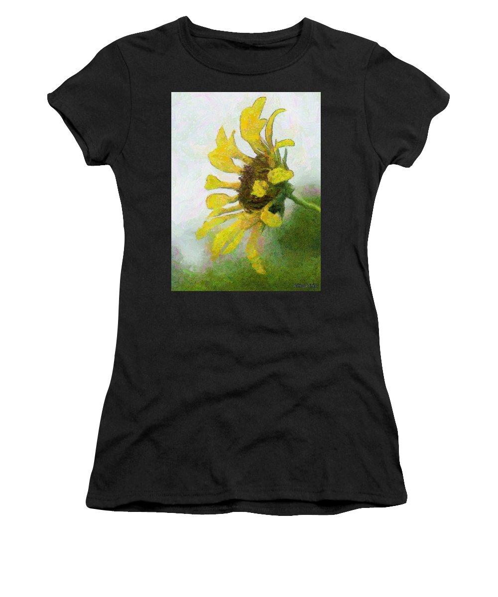Sunflower Women's T-Shirt featuring the painting Kate's Sunflower by Jeffrey Kolker