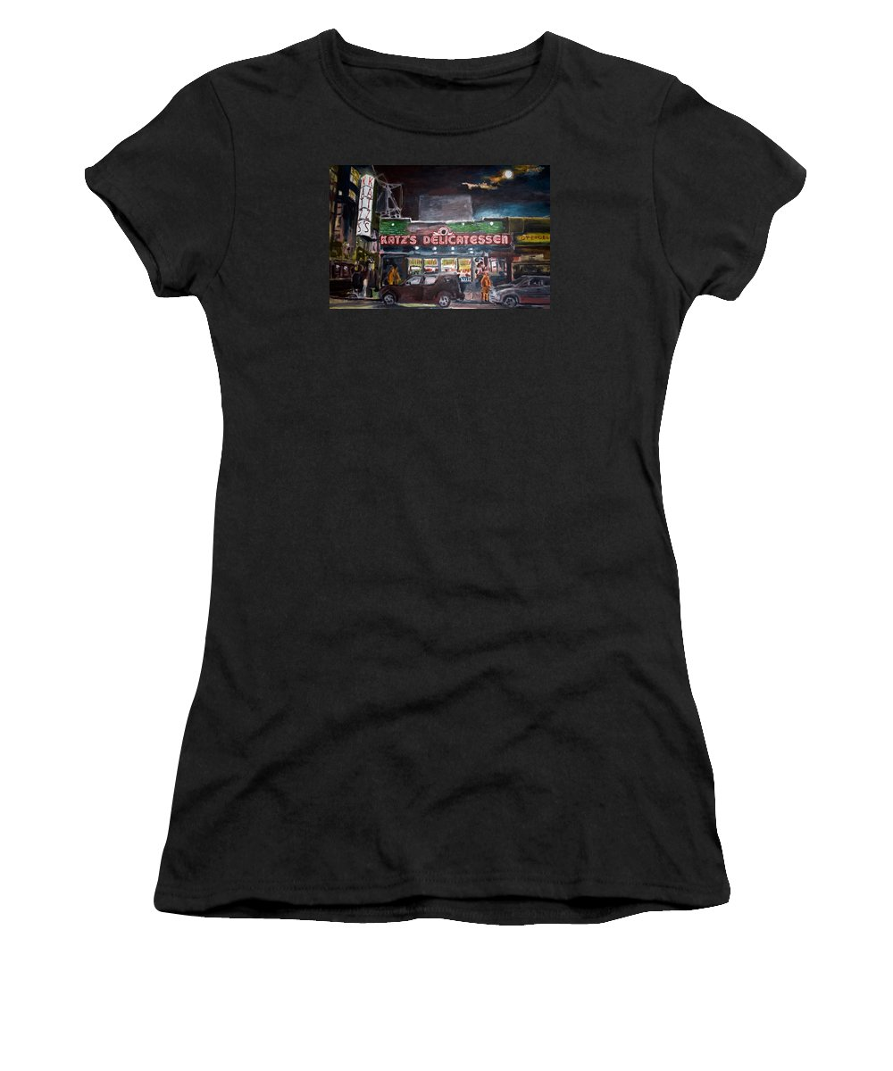 New York City Paintings Women's T-Shirt (Athletic Fit) featuring the painting Katz Deli by Wayne Pearce