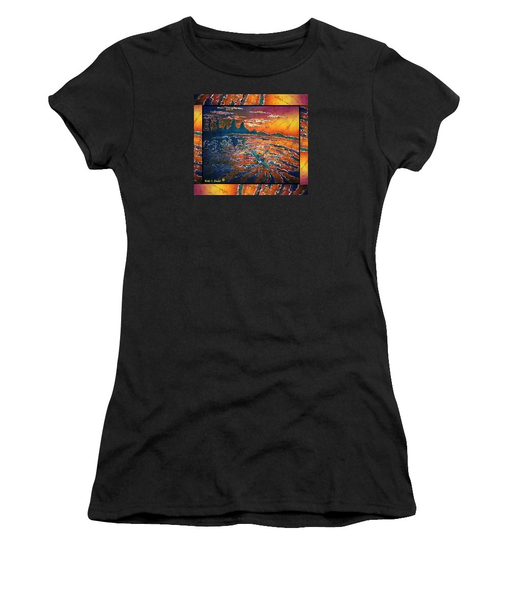 Kayak Women's T-Shirt (Athletic Fit) featuring the painting Kayaking Serenity - Bordered by Sue Duda