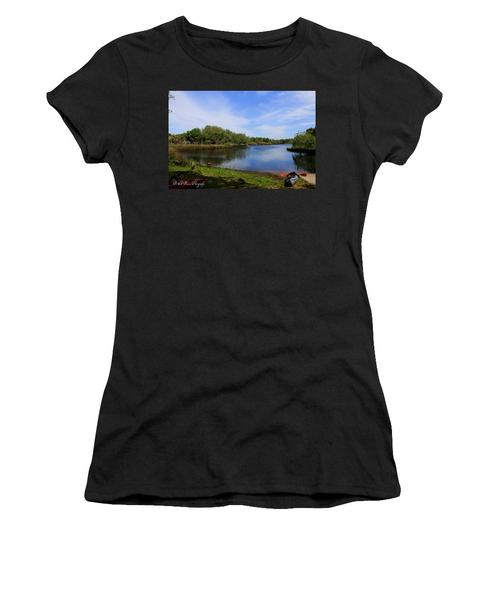 Cotee River Women's T-Shirt (Athletic Fit) featuring the photograph Kayaking The Cotee River by Barbara Bowen
