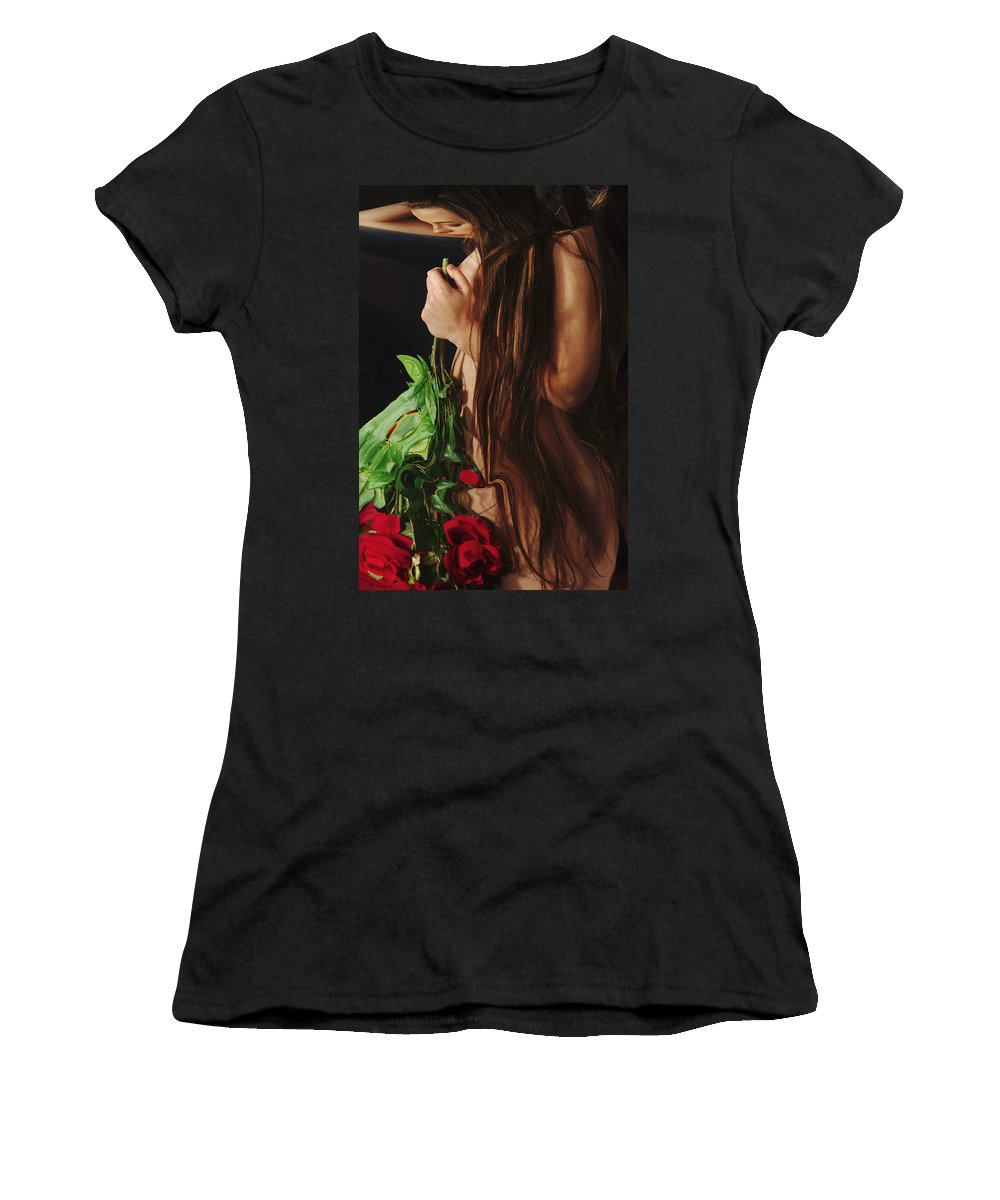 Female Nude Abstract Mirrors Flowers Women's T-Shirt (Athletic Fit) featuring the photograph Kazi1179 by Henry Butz
