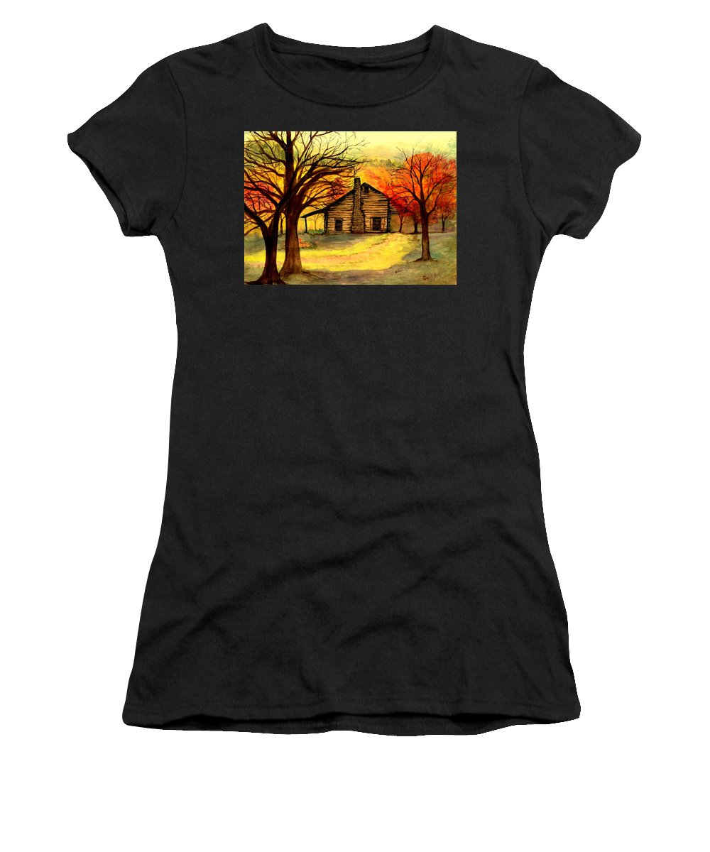 Log Cabins Women's T-Shirt (Athletic Fit) featuring the painting Kentucky Cabin by Gail Kirtz