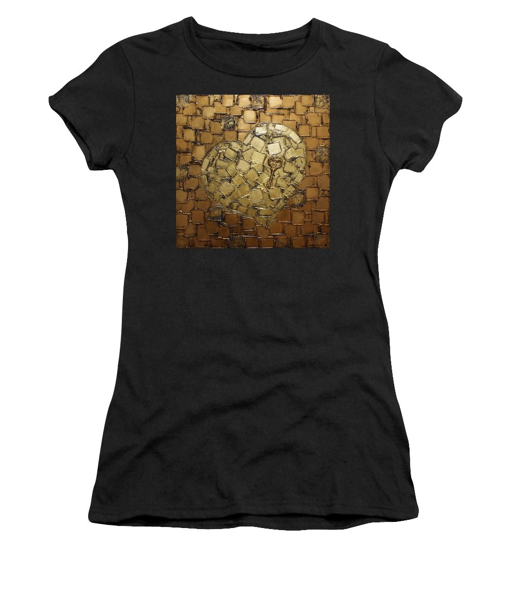 Love Art Women's T-Shirt featuring the painting Key To My Heart Valentines Day by Susanna Shaposhnikova