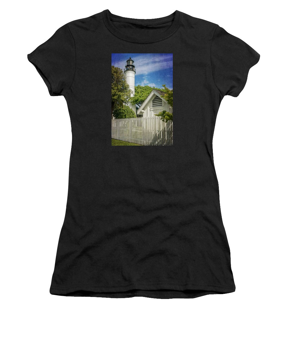Key West Women's T-Shirt (Athletic Fit) featuring the photograph Key West Lighthouse Dsc01547_16 by Greg Kluempers