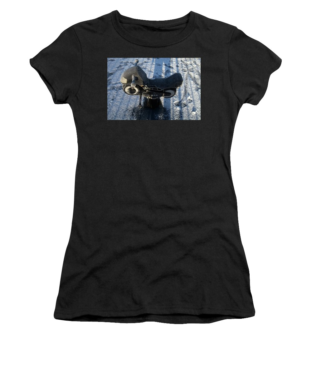 Saltaire Women's T-Shirt (Athletic Fit) featuring the photograph Kiddie Leathers by Jez C Self