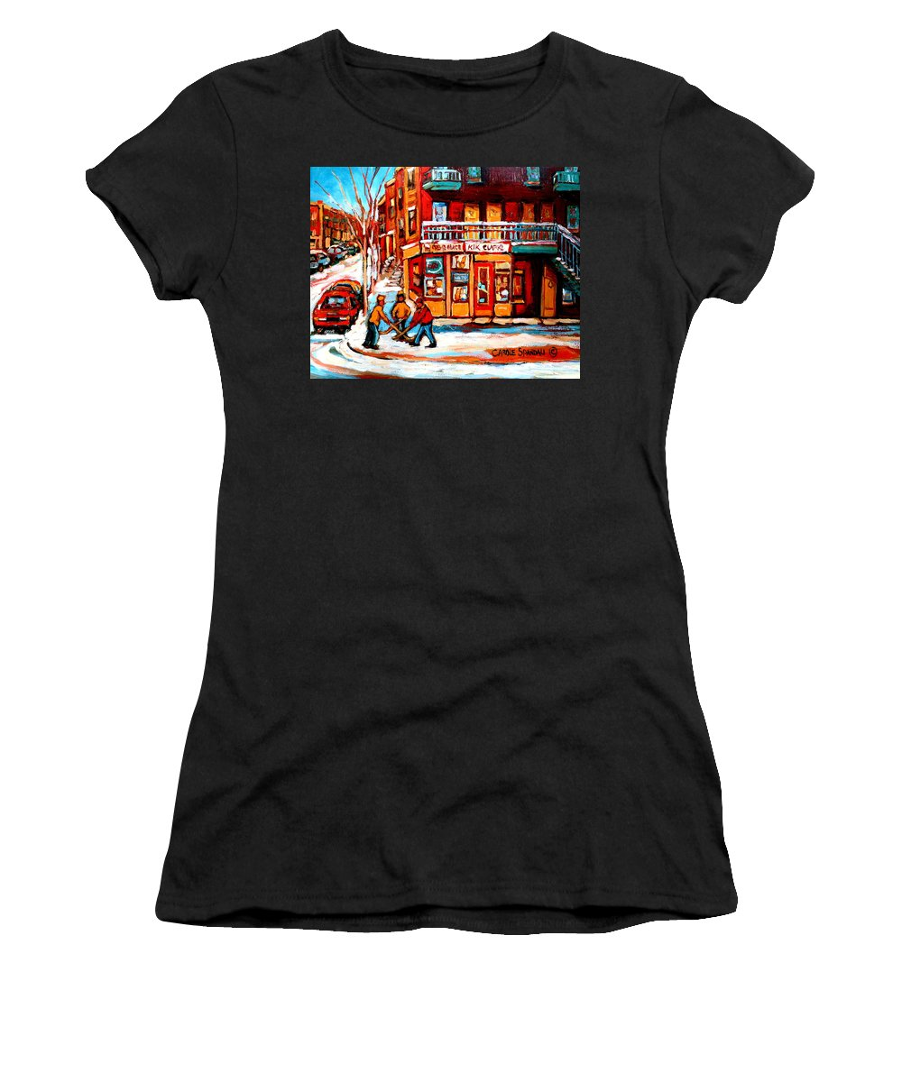 Montreal Streetscene Women's T-Shirt (Athletic Fit) featuring the painting Kik Cola Depanneur by Carole Spandau