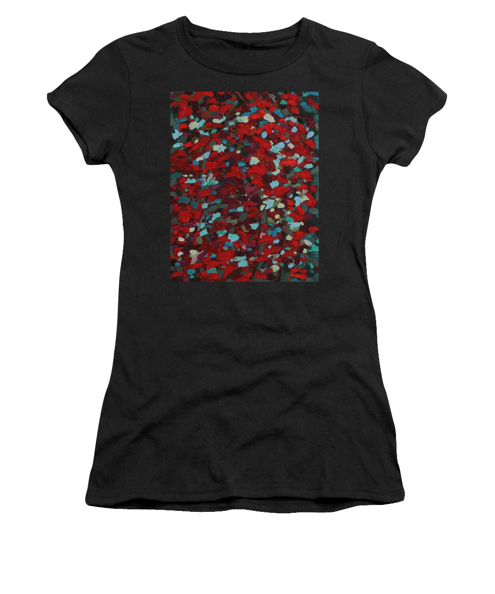2040 Women's T-Shirt (Athletic Fit) featuring the painting Killarney In The Fall by Phil Chadwick