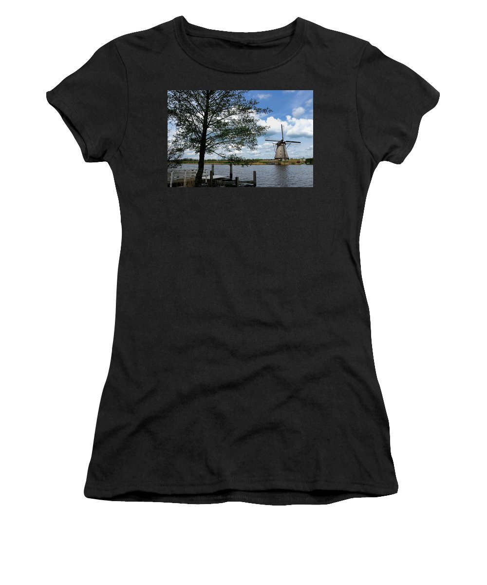 Kinderdijk Women's T-Shirt featuring the photograph Kinderdijk Windmill by Soon Ming Tsang