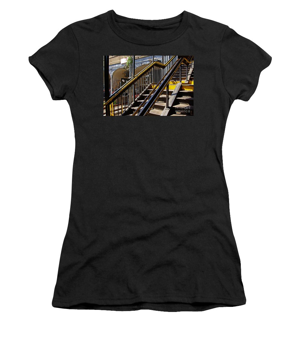 Subway Women's T-Shirt (Athletic Fit) featuring the photograph Kings Hwy Subway Station In Brooklyn by Zal Latzkovich