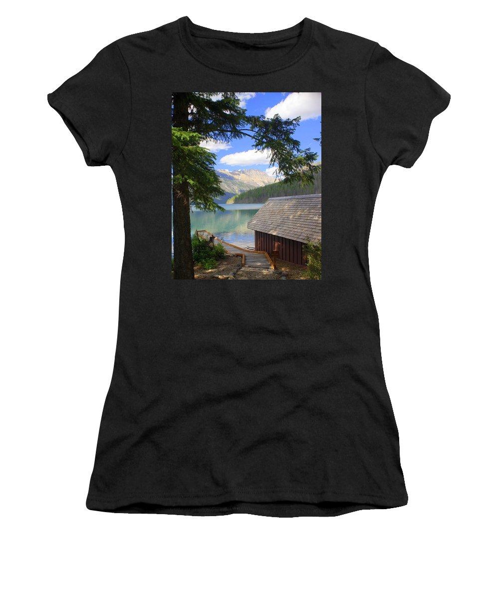 Glacier National Park Women's T-Shirt featuring the photograph Kintla Lake Ranger Station Glacier National Park by Marty Koch
