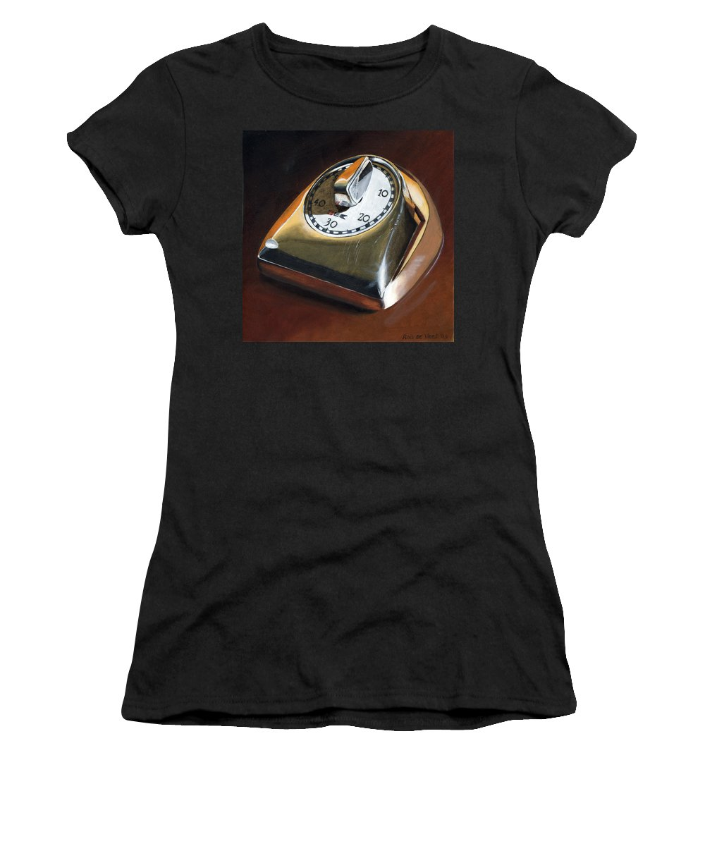 Kitchen Timer Women's T-Shirt (Athletic Fit) featuring the painting Kitchen Timer by Rob De Vries