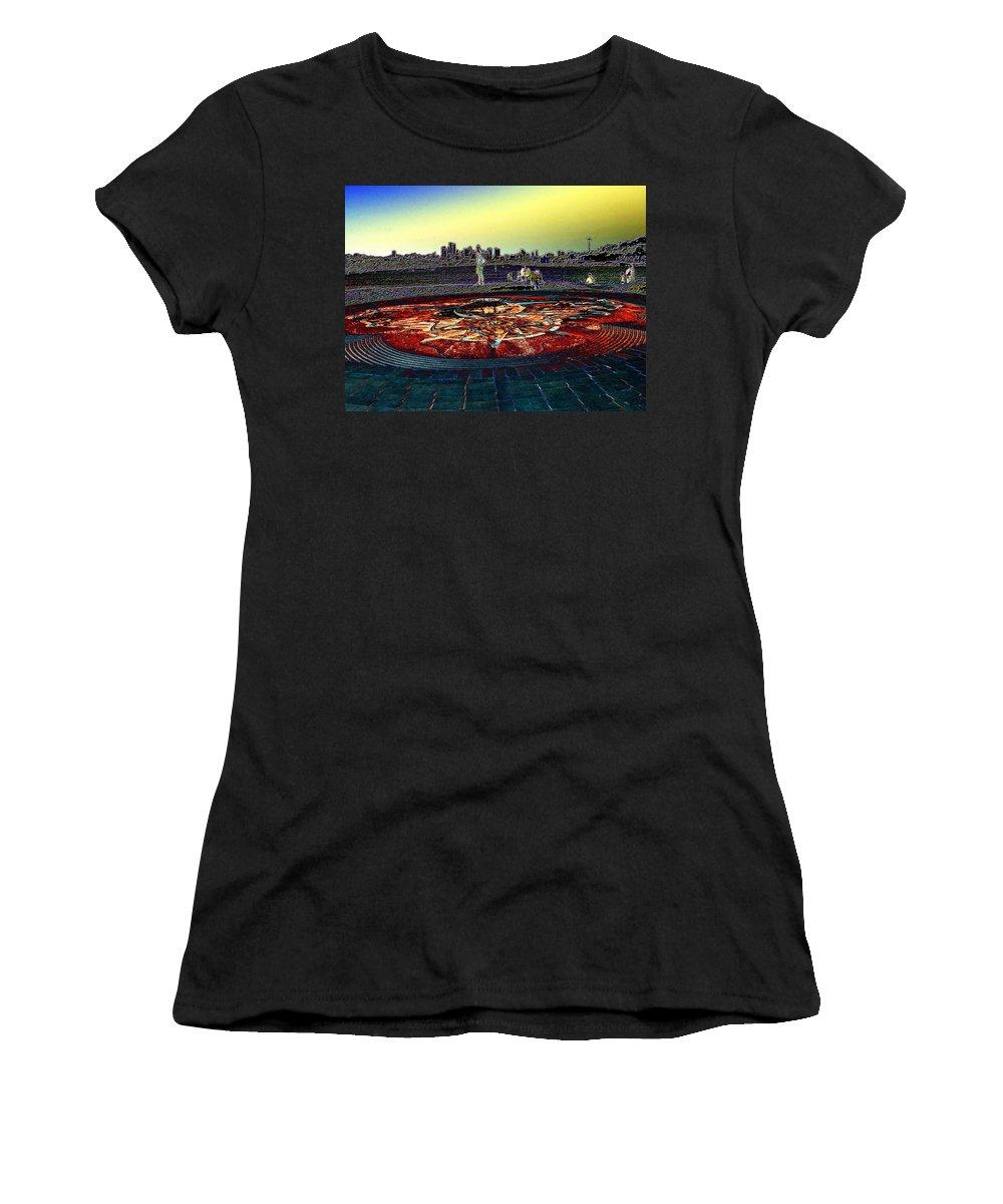 Seattle Women's T-Shirt featuring the photograph Kite Hill Sundial by Tim Allen