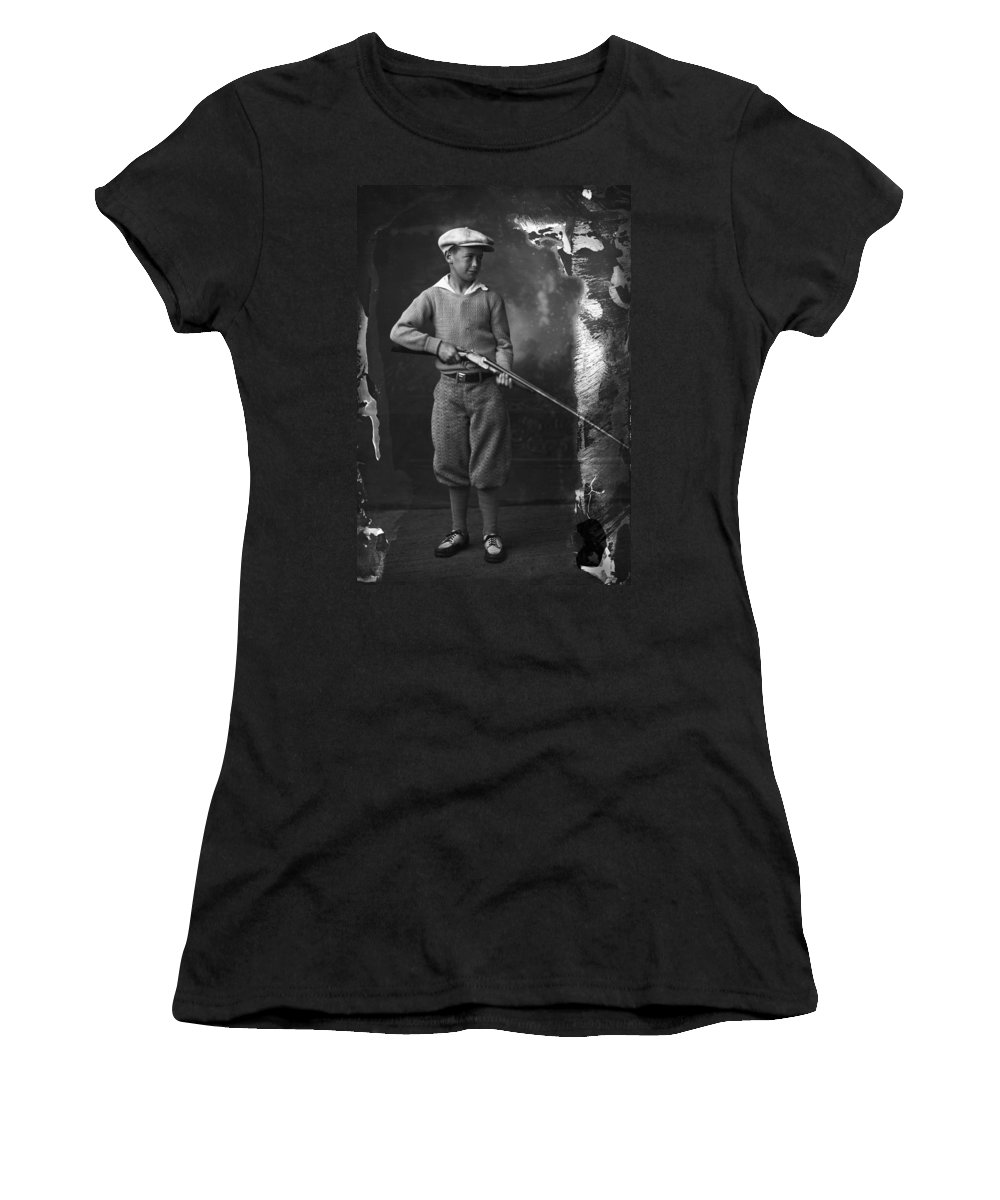 Shotgun Women's T-Shirt (Athletic Fit) featuring the photograph Knickerbockers And Shotgun by Seely Studio