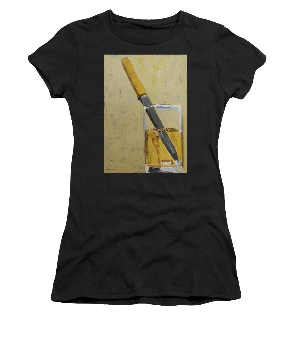 Knife In Glass Women's T-Shirt (Athletic Fit) featuring the painting Knife In Glass - After Diebenkorn by Mini Arora