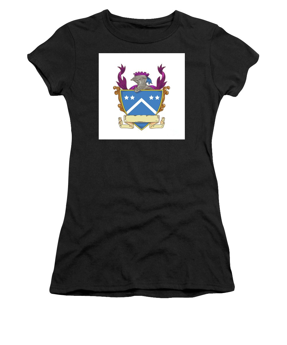 Drawing Women's T-Shirt (Athletic Fit) featuring the digital art Knight Helmet Star Chevron Drawing by Aloysius Patrimonio